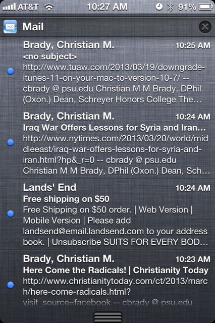 Unread Emails on the iPhone