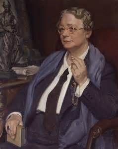 Dorothy L Sayers portrait by William Oliphant Hutchison for National Portrait Gallery ca. 1950