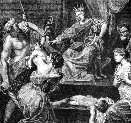 Slicing and dicing! Solomon copying with competing claims of motherhood. (And let's face it, this is one creepy picture. What is with the boy sleeping [dead?!] on the steps, the woman clutching her breasts [lactating?], and the Solomon's pudgy King Joffrey look?)